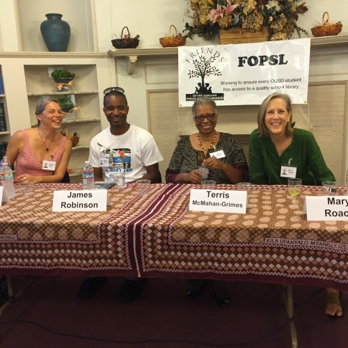 Local authors, Dashka Slater, James Robinson, Terris McMahan-Grimes and Mary Roach help support FOPSL and OUSD libraries.