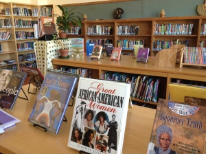Literature is displayed in celebration of African-American History Month in the beautiful library at Sankofa.