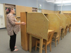 Outdated plywood study carrels will be replaced with 10 modern computer stations in the media/library at WOMS.
